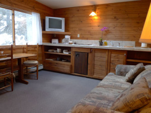 Cabin living room at Boulder Mountain Lodge.