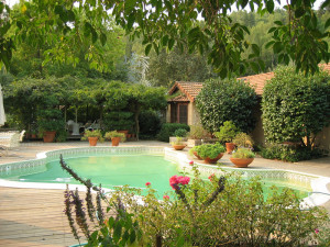 Outdoor pool at Brookside Vineyard B & B.