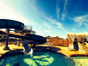 Waterpark slide at Flying L Guest Ranch.