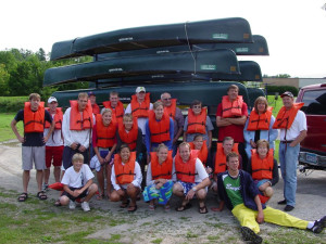 Canoe group at Cedar Valley Resort.