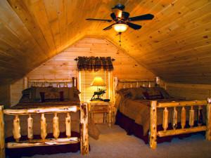 Chalet bedroom at Highland Marina Resort.