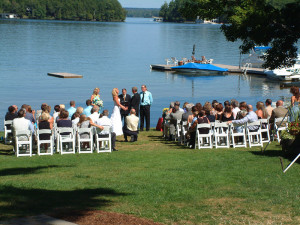 Wedding ceremony at Shamrock Lodge.