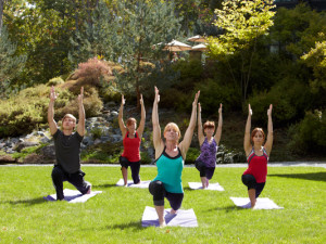 Outdoor yoga at The Lodge at Woodloch.