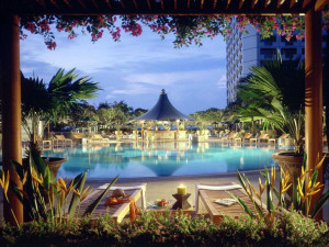 Outdoor pool at Fairmont Singapore.