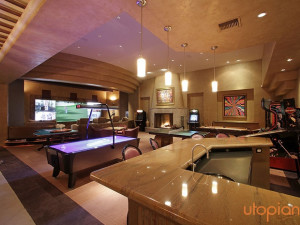 Rental game and theater room at Utopian Palm Springs Vacation Homes.