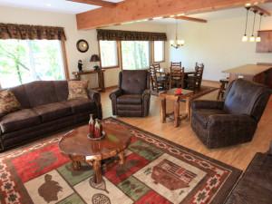 Luxury Lake Home rental living room at East Silent Resort.