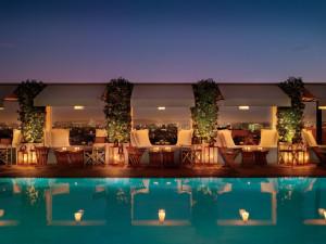 Outdoor pool at Mondrian Los Angeles.