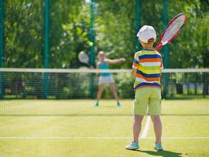 Tennis court at Fiddler Lake Resort.