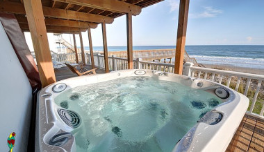 Rental hot tub at Treasure Realty.