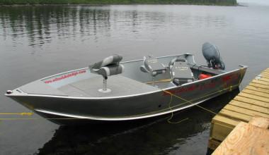 Boat at Milton Lake Lodge Saskatchewan.