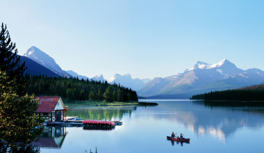 Maligne Lake near Johnston Canyon Resort.