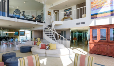 Penthouse living room at Padre Getaways.