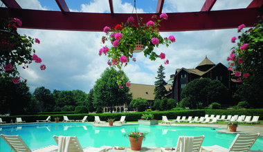 Outdoor pool at Fairmont Le Chateau Montebello.