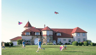 Flying kites at Ocean Edge Resort & Golf Club.