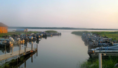 The Marina fishing boats at Angle Outpost Resort & Conference Center.