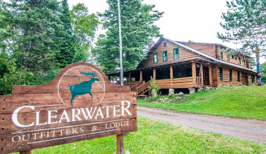 Exterior view of Clearwater Historic Lodge & Canoe Outfitters.