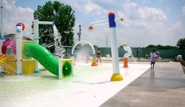 Splash pad at Mark Twain Landing.