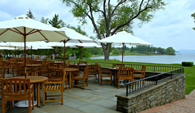 The Hawkeye Grill Patio at The Otesaga Resort Hotel.