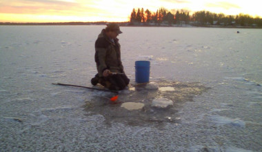 Ice fishing at Adrian's Resort.