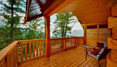Cabin deck at The Wilderness Way Adventure Resort.