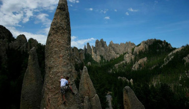 Rock climbing at Backroads Inn & Cabins.