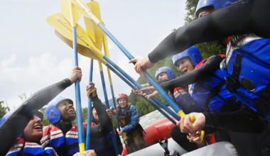 Group rafting at REO Rafting Resort.