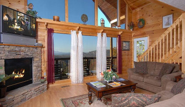 Cabin living room at Timber Tops Luxury Cabin Rentals.