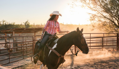 Horseback riding at Tanque Verde Ranch.