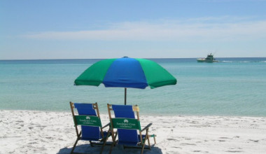 Chair and umbrella rentals at Sandpiper Cove.