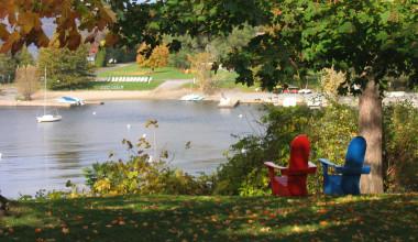 View of the lake at Basin Harbor Club.