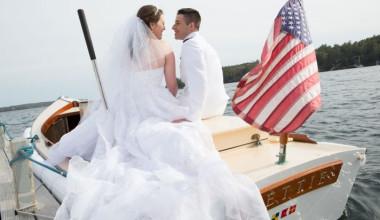 Wedding couple at Linekin Bay Resort.