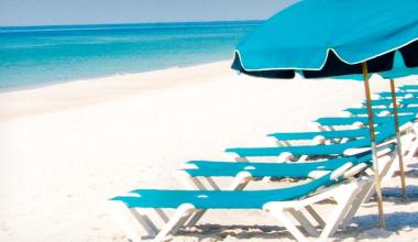 Beach chairs at Holiday Inn Resort.