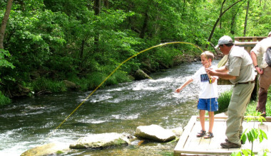 Fishing at Copper John's Resort.