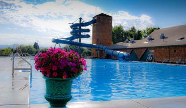 Outdoor pool at Fairmont Hot Springs Resort.
