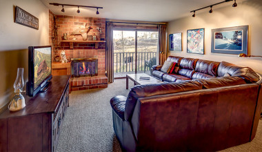 Rental living room at Bear Claw Condominiums.