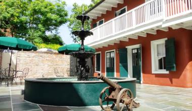 Outdoor fountain at Hotel Maison de Ville.