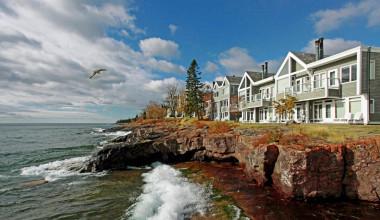 Resort view at Bluefin Bay on Lake Superior.
