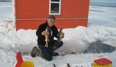 Ice fishing at Angle Outpost Resort & Conference Center.