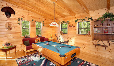 Game room in a rental home at American Patriot Getaways, LLC.