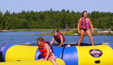 Water trampoline at Northern Lights Resort Outfitting & Youth Quest.