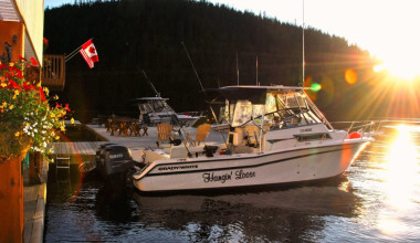 Boat at Nootka Wilderness Lodge.