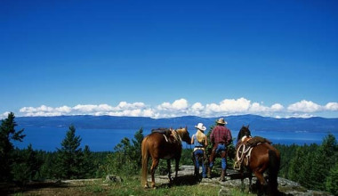 Horseback riding at Averill's Flathead Lake Lodge.