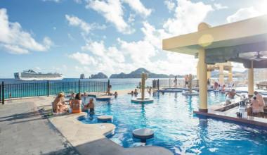 Outdoor pool at Hotel Riu Santa Fe.