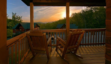 Relaxing on the deck at Aunt Bug's Cabin Rentals, LLC.
