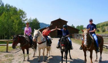 Horseback riding at Moose Creek Ranch.