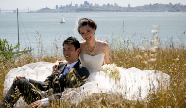 Wedding couple at Cavallo Point Lodge.