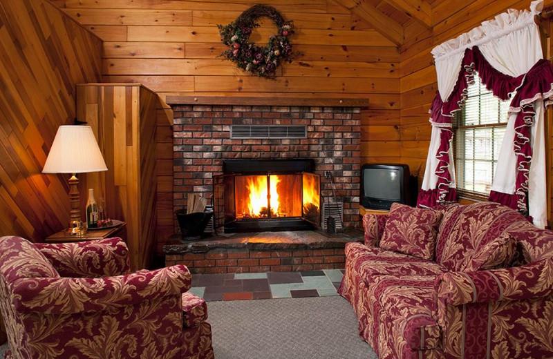 Cabin living room at Smoke Hole Caverns & Log Cabin Resort.