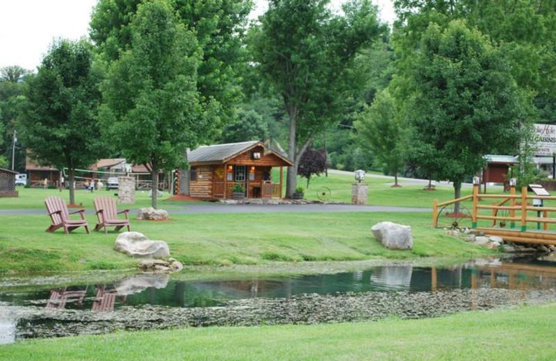 Log cabins at Smoke Hole Caverns & Log Cabin Resort.
