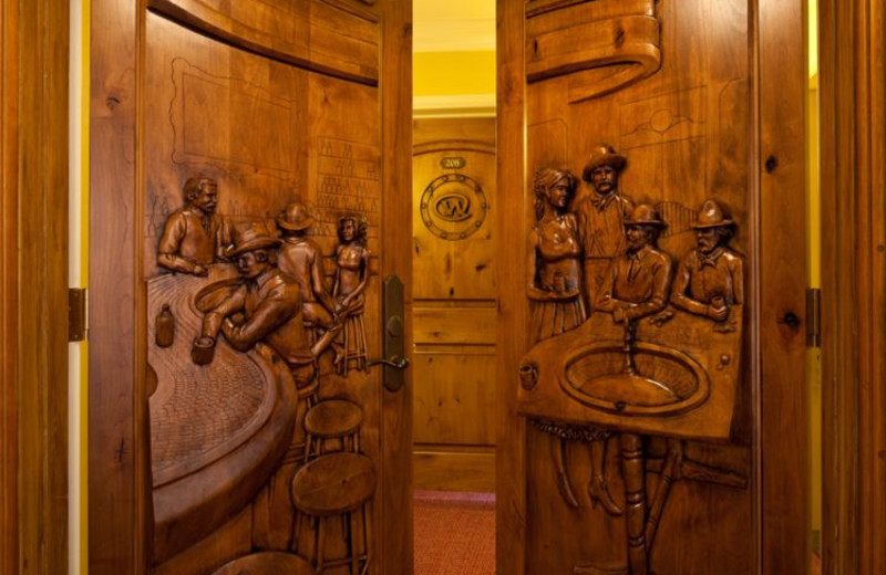 Hand carved doors at Wort Hotel.