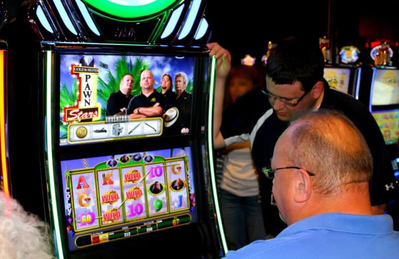 Playing the slot machine at Rocky Gap Casino Resort.
